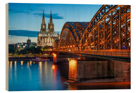 Hout print  Cologne Cathedral and Hohenzollern Bridge at night - Jan Christopher Becke