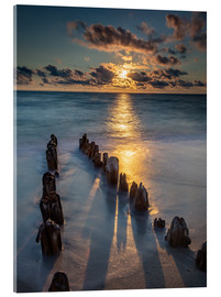 Acrylglas print  Groyne on Sylt with sunset - Heiko Mundel