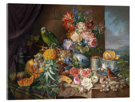 Acrylglas print  Still life with fruits flowers and parrot - Joseph Schuster