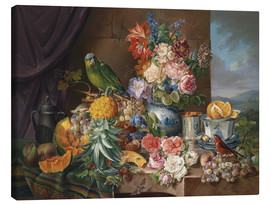 Canvas print  Still life with fruits flowers and parrot - Joseph Schuster