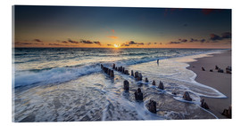 Acrylglas print  Groynes in the sunset - Heiko Mundel
