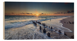 Hout print  Groynes in the sunset - Heiko Mundel