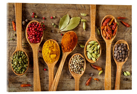 Acrylglas print  Colorful spices in wooden spoons - Elena Schweitzer