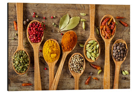 Aluminium print  Colorful spices in wooden spoons - Elena Schweitzer