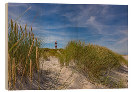 Hout print  Lighthouse List / East with dune - Heiko Mundel