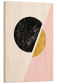 Hout print  Scandinavian composition with marble and gold - Radu Bercan