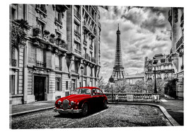 Acrylglas print  Paris in black and white with red car - Art Couture