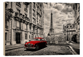 Hout print  Paris in black and white with red car - Art Couture